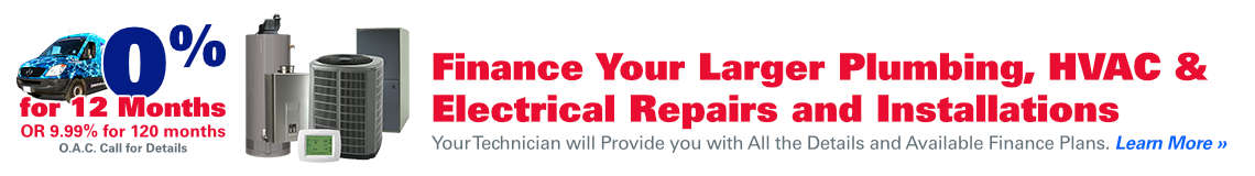 Finance Your Larger Plumbing, HVAC & Electrical Repairs & Installations