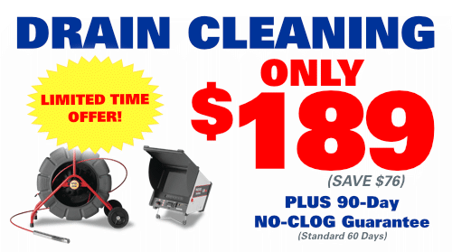 Drain Cleaning only $189