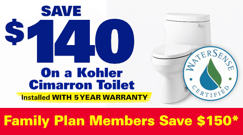 Save $140 On A Kohler Cimarron Toilet Installed with 5 Year Warranty