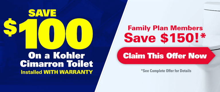 Save $100 On A Kohler Cimarron Toilet Installed with Warranty